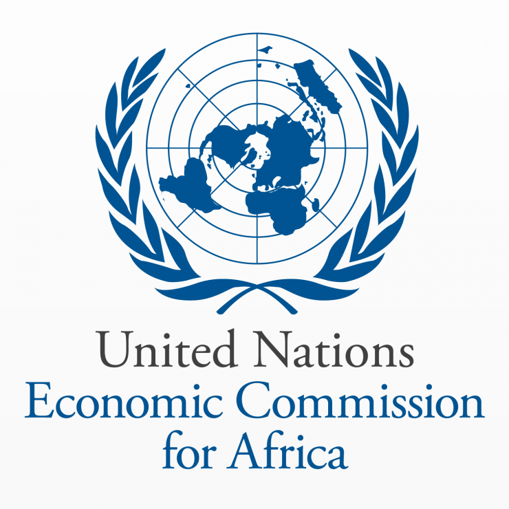 "Logo for United Nations Economic Commission for Africa. A navy blue globe with a wreath around it and the text, ""United Nations Economic Commission for Africa,"" underneath"